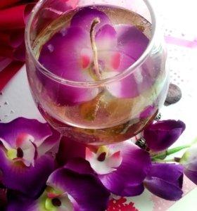 """Гелевая свеча """" пленительная орхидея"""""""