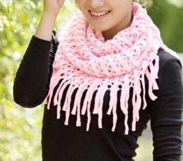 Легкий ажурный шарф-снуд на весну