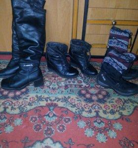 Обувь, сапоги 36, ботинки 38,5, с тканью 34-35