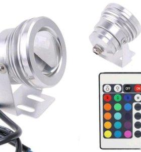Светодиодный RGB Светильник + пульт д/у, IP65