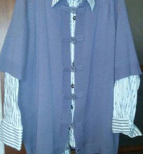 Рубашка женская и жилетка женская размер free saze