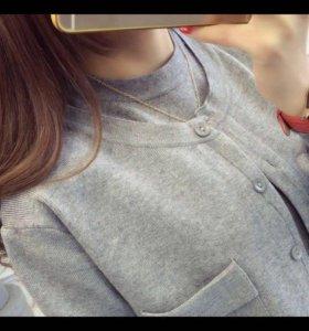 Платье вязанное серое/тёплое
