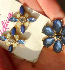 Серьги (сережки) и кольцо (колечко) (цветы)