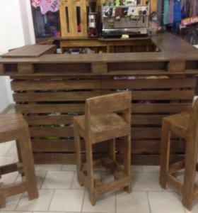 Мебель из паллет, барные стулья