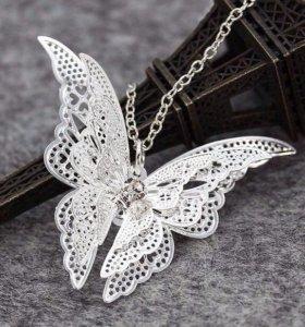 Подвеска бабочка с цепью