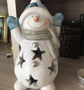 Снеговик -подствечник