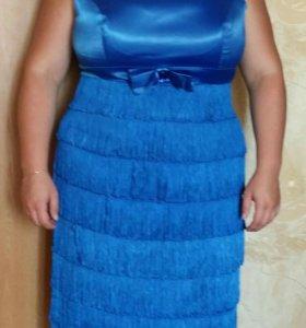 Платье коктельное синие р. 52-54
