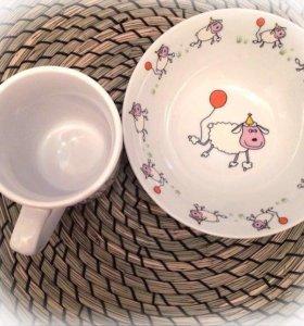 Детский набор посуды с овечкой 🐏