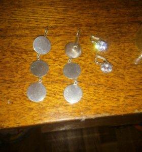Серьги капейки  серебро