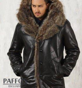 Мужская зимняя куртка с капюшоном из енота