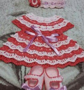 Детские платья крючком,цена зависит от размера!