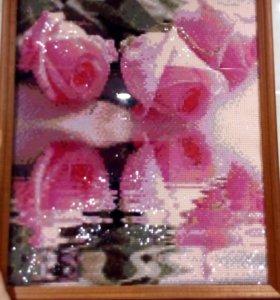 Алмазная вышивка. Отражение роз на воде
