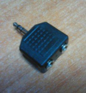 Переходник jack 3,5 мм вилка - 2хJack 3,5 розетка