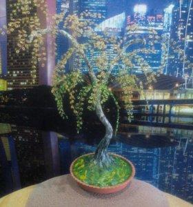 Дерево (береза) из бисера