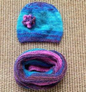 Шапочка и шарфик в два оборота