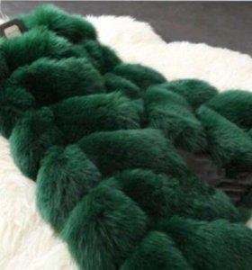 💚💚Меховая жилетка, зеленый цвет💚💚