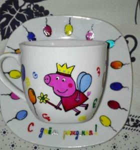 Детские чашки с росписью. Ручная работа