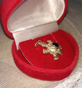 Подвеска серебро Черепаха с фианитами, 925 проба