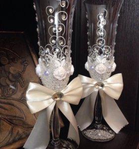 Свадебные бокалы+подарок