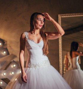 Свадебное платье 44 размер, заниженная талия