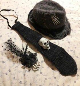 Холлуин шляпа,галстук,заколка