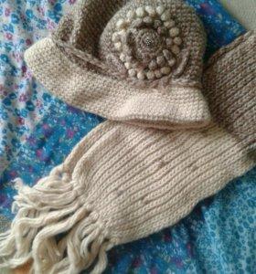 Новый комплект шапка (шляпа) и шарф