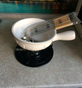 Набор фондю (фондюшница) керамика, 10 предметов
