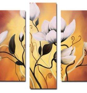 """Модульная картина """"Вьющиеся Цветы"""""""