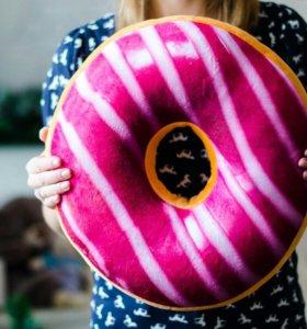 Подушка сидушка пончик розовый полосатый