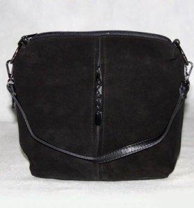 сумка чёрная замшевая