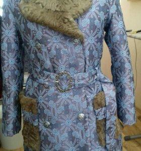 пошив.  меховое модное пальто