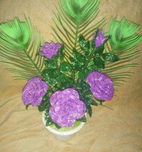 Цветы из бисера , в наличии и на заказ