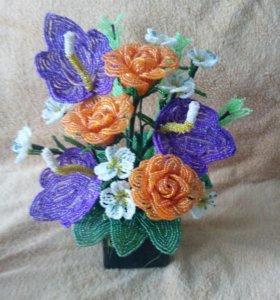 Цветы из бисера, в наличии и на заказ