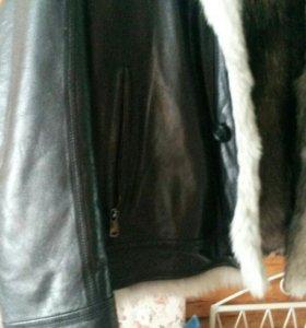 зимняя коженная куртка
