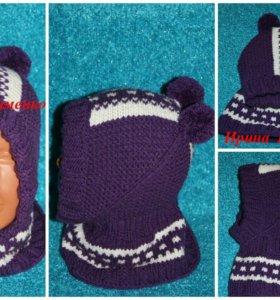 Вязание.  Шапка - шлем спицами