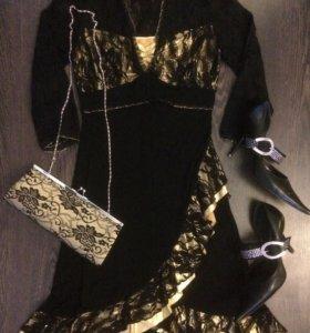 Вечернее платье, клатч, туфли