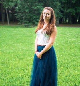 Фатиновая юбка с бордовым поясом