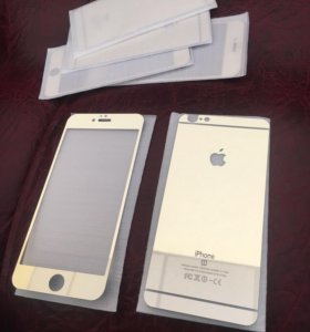 Стёкла на айфон 6s+ золотого цвета.