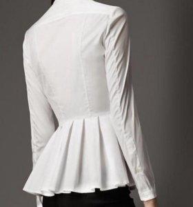 Белая рубашка с баской.Торг.