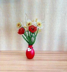 Весенний букет из бисера.