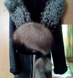 Дублёнка + шапка ( мех чернобурка )