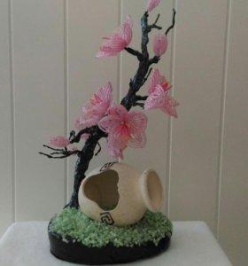 """Дерево из бисера """"Сакура"""""""