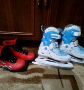 Ботинки лыжные, коньки раздвижные.