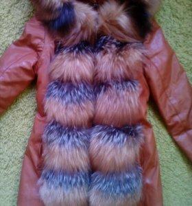 Куртка демисезонная, трансформер. Натуральный мех.