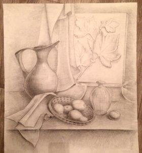 Натюрморт, графическая работа карандашом, рисунок