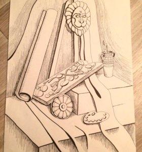Графика, картина, натюрморт со львом