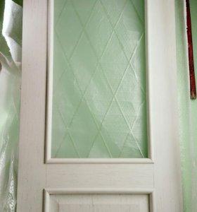 Межкомнатная дверь со стеклом + коробка + наличник