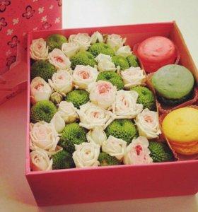 Цветы с макаронс