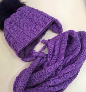 Новый набор р 52-54 шапочка и шарф
