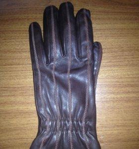 Кожаные перчатки (коричневые)